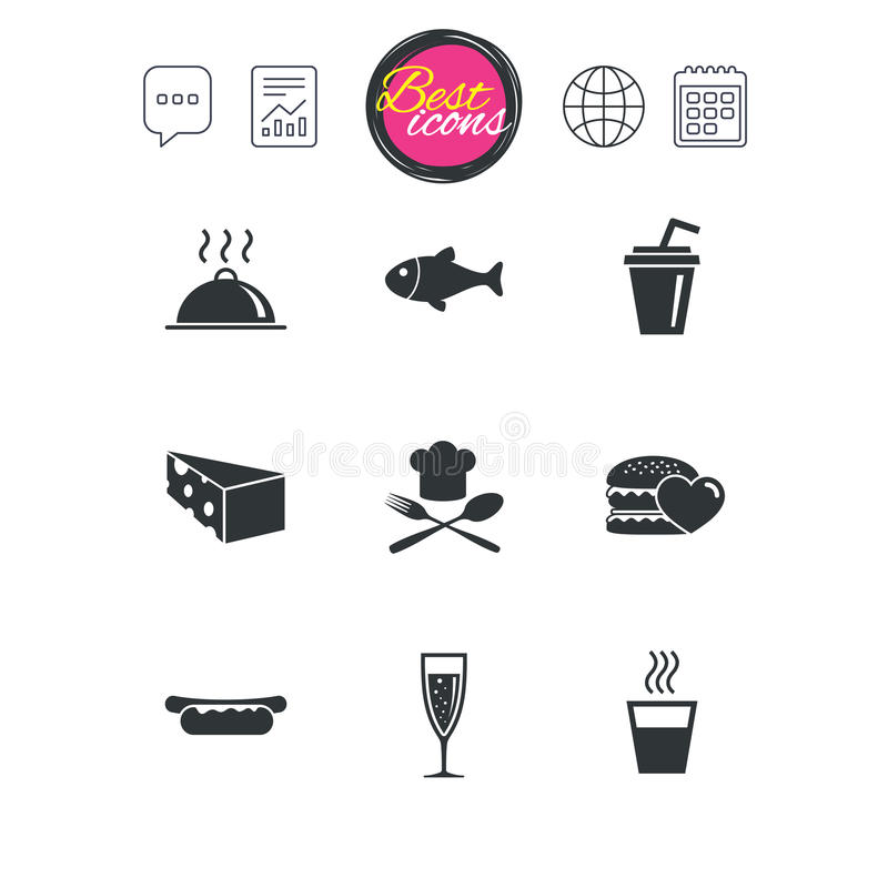 Jedzenie, napój ikony Alkohol, ryba i hamburger, ilustracja wektor