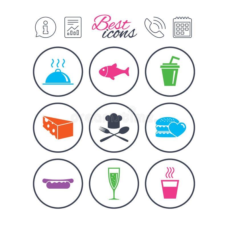 Jedzenie, napój ikony Alkohol, ryba i hamburger, ilustracji