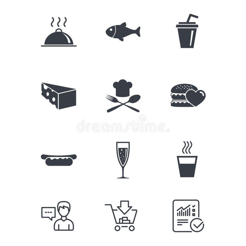 Jedzenie, napój ikony Alkohol, ryba i hamburger, royalty ilustracja