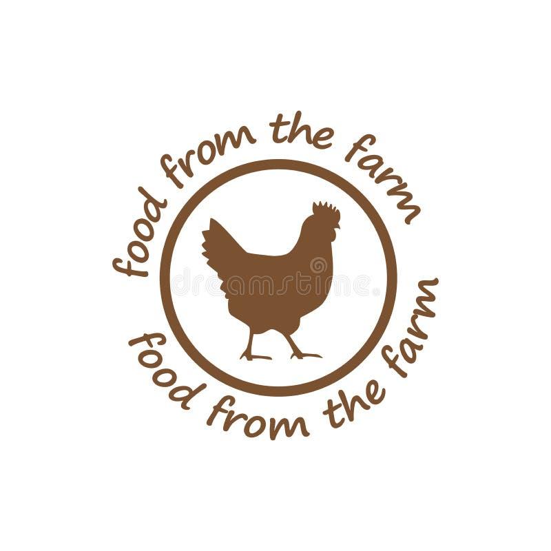 Jedzenie od rolnego majcheru Kurczak ikona, rolny karmowy symbol ilustracja wektor