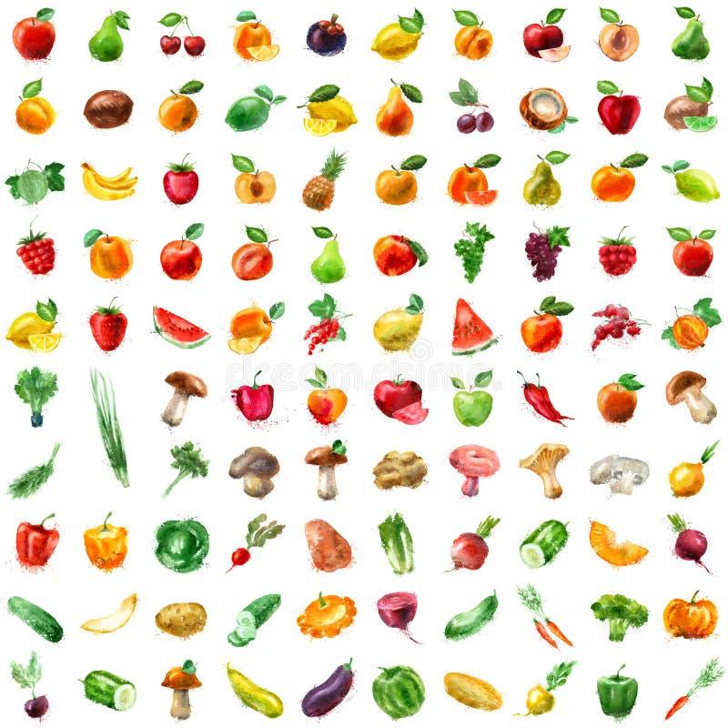 Jedzenie owocowej ikony ustaleni warzywa royalty ilustracja
