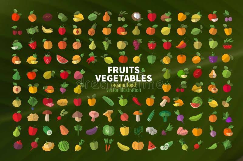 Jedzenie Owocowy i warzywa ustawiać barwione ikony ilustracja wektor