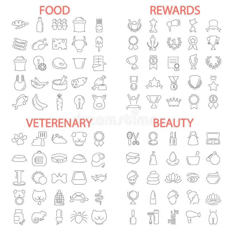 Jedzenie piękno Veterenary sklep Nagrody i medale wykładają ikony ustawiać ilustracja wektor