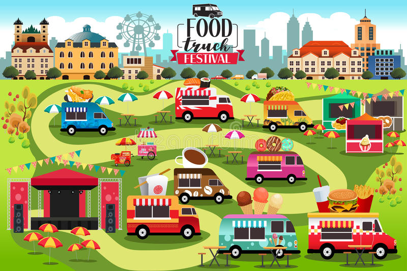 Jedzenie Przewozi samochodem festiwal mapę ilustracji