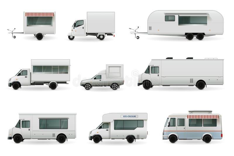 Jedzenie Przewozi samochodem Realistycznego set royalty ilustracja