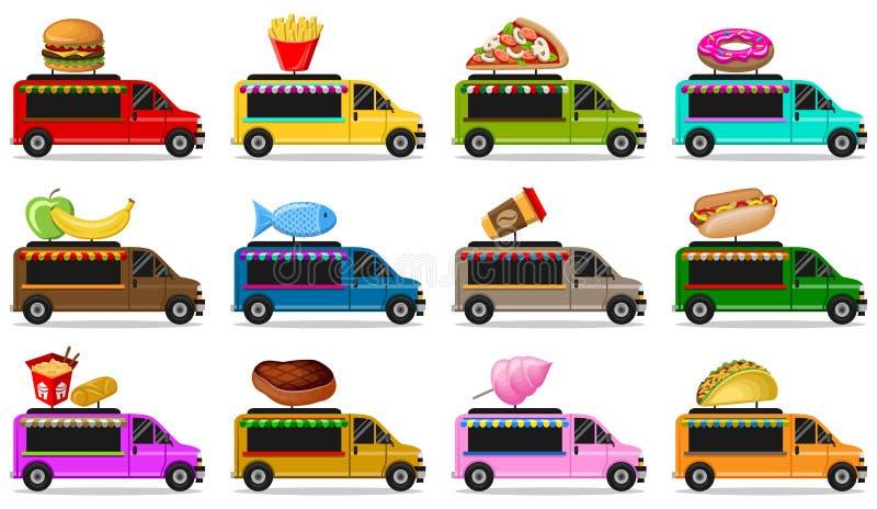 Jedzenie przewozi samochodem wektor ustawiającego odizolowywającym royalty ilustracja