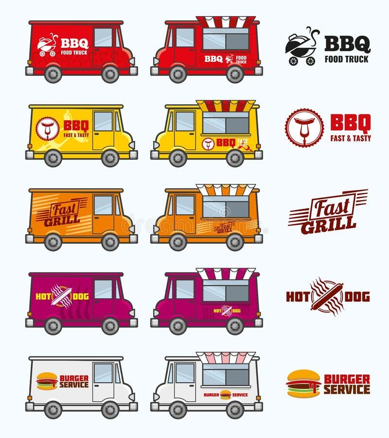 Jedzenie przewozi samochodem wektoru set ilustracja wektor