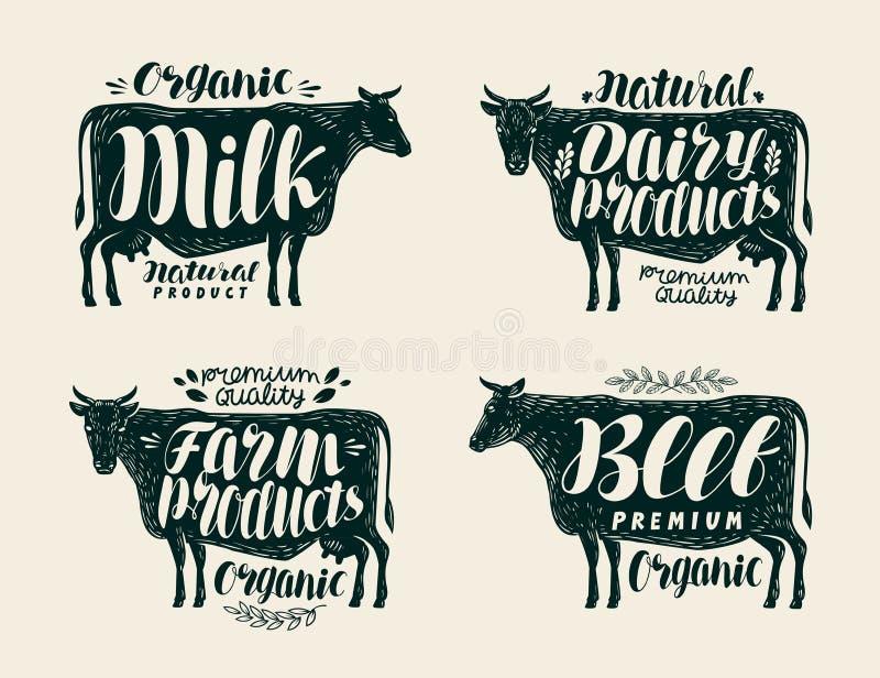 Jedzenie, rocznik etykietki set Krowa, byk, wołowina, mleko, zwierzęta gospodarskie, nabiał ikony lub logowie, Literowanie, kalig royalty ilustracja