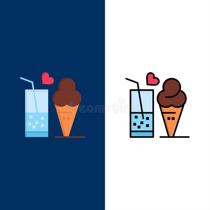 Jedzenie, sok, szkło, lody, Szyszkowe ikony Mieszkanie i linia Wypełniający ikony Ustalony Wektorowy Błękitny tło royalty ilustracja