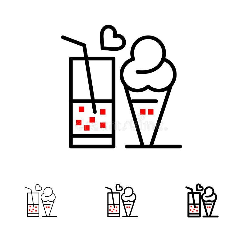 Jedzenie, sok, szkło, lody, Szyszkowy czerni linii ikony set, Śmiały i cienki ilustracji