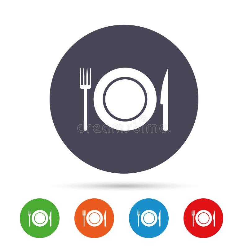 Jedzenie szyldowa ikona Cutlery symbol Nóż i rozwidlenie royalty ilustracja