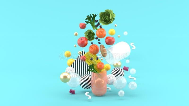 Jedzenie unosi się z kapsuły wśród kolorowych piłek na błękitnym tle ilustracji