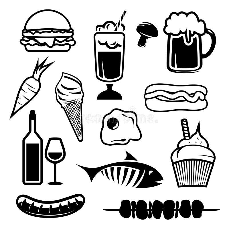 Jedzenie ustalone ikony ilustracji