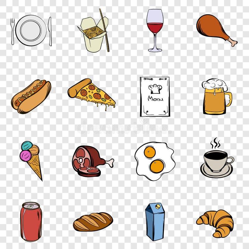 Jedzenie ustalone ikony ilustracja wektor