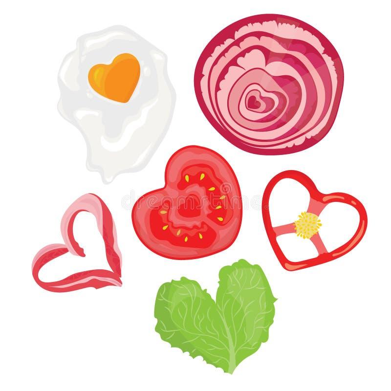 Jedzenie w postaci serc Ilustracja smażący jajka w formie serca Miłość symbol Wektorowa ilustracja ilustracji