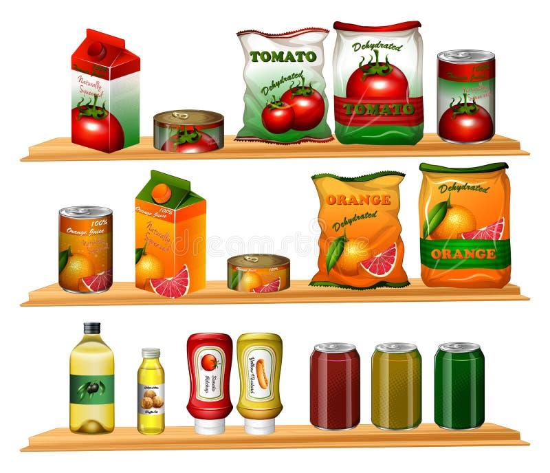 Jedzenie w różnych pakunkach na półkach ilustracja wektor