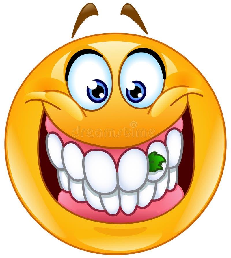 Jedzenie wtykający w zębu emoticon royalty ilustracja
