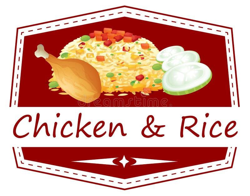 Jedzenie z kurczaka i ryż etykietką royalty ilustracja