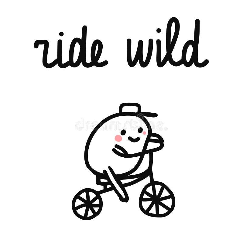 Jedzie dziką rowerową sport ilustrację z marshmallow w kapeluszowym jazda rowerze dla printsposters rywalizacji promo ilustracja wektor
