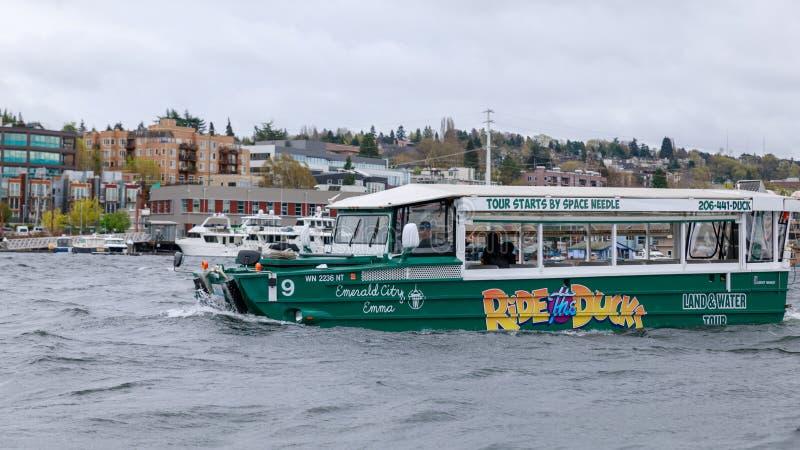 Jedzie kaczki, Zwiedzający miasto wycieczki turysycznej program w Seattle, Waszyngton obrazy royalty free