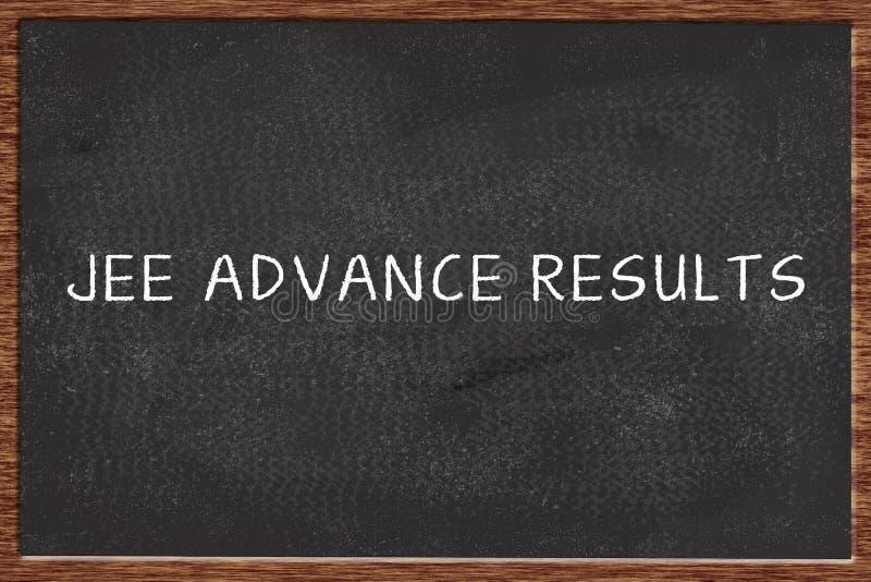 JEE ВЫДВИНУЛО результаты написанные на черной доске мела стоковые фотографии rf