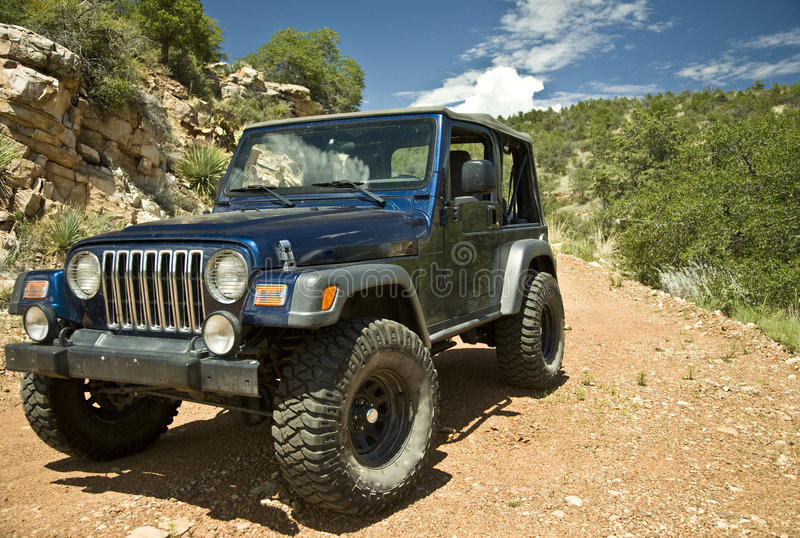 Jeep on an Arizona Trail stock images