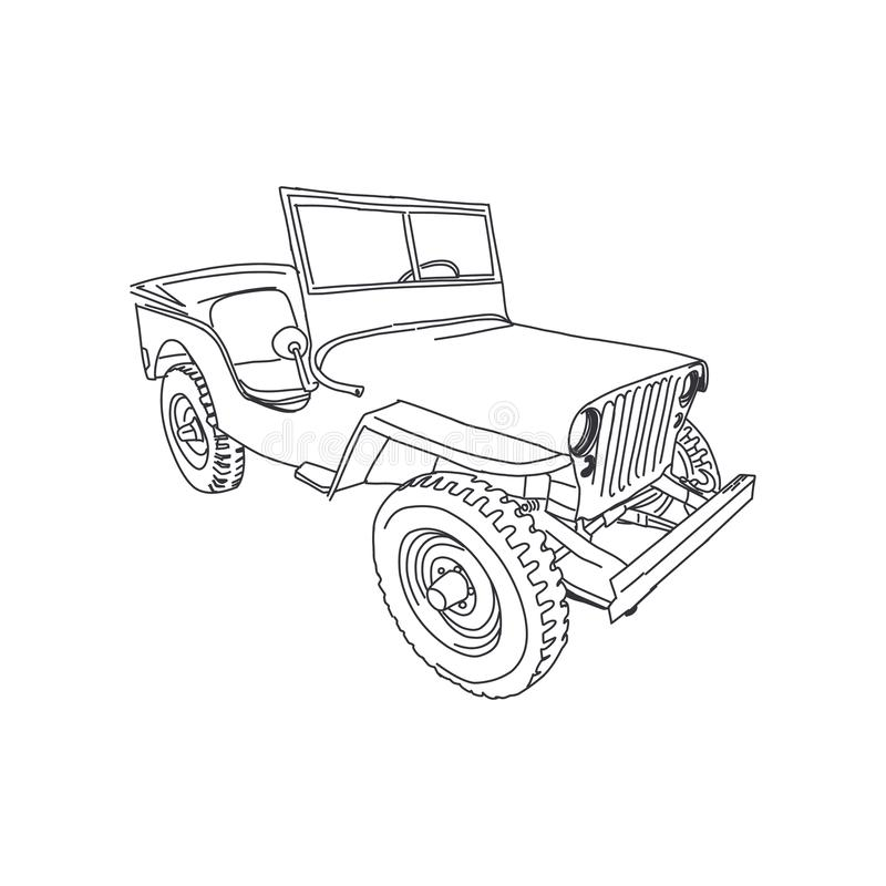 Free Jeep Army Vector Line Art Hand Drawn Illustration Royalty Free Stock Photography - 157554887