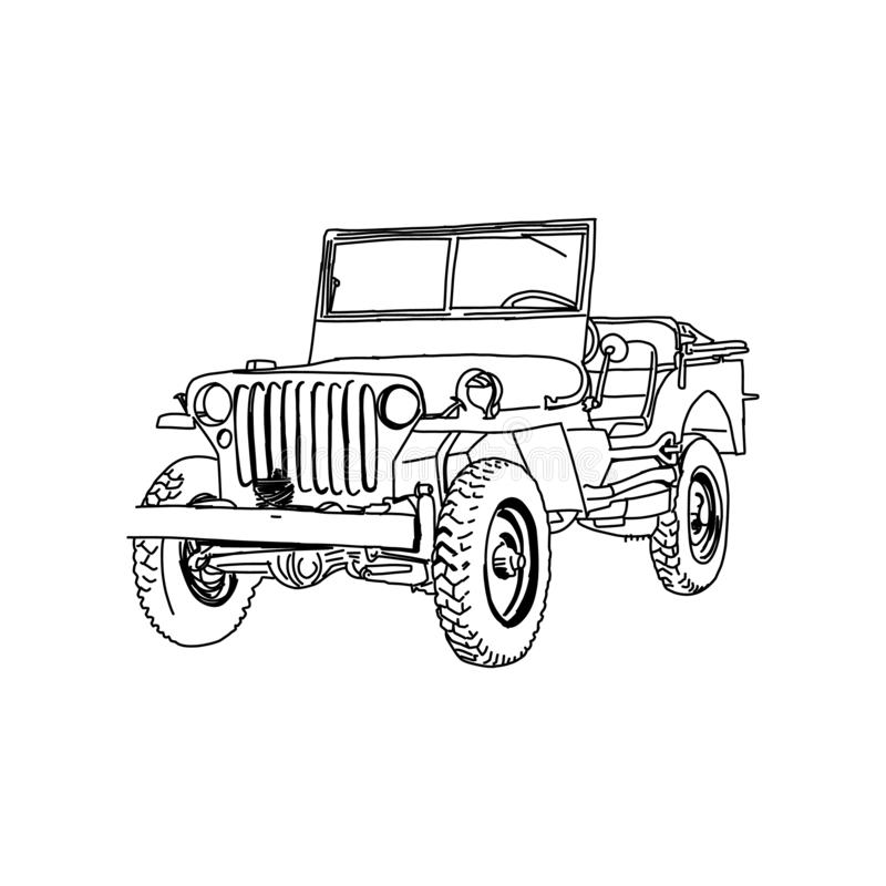 Free Jeep Army Vector Line Art Hand Drawn Illustration Royalty Free Stock Photography - 157554907