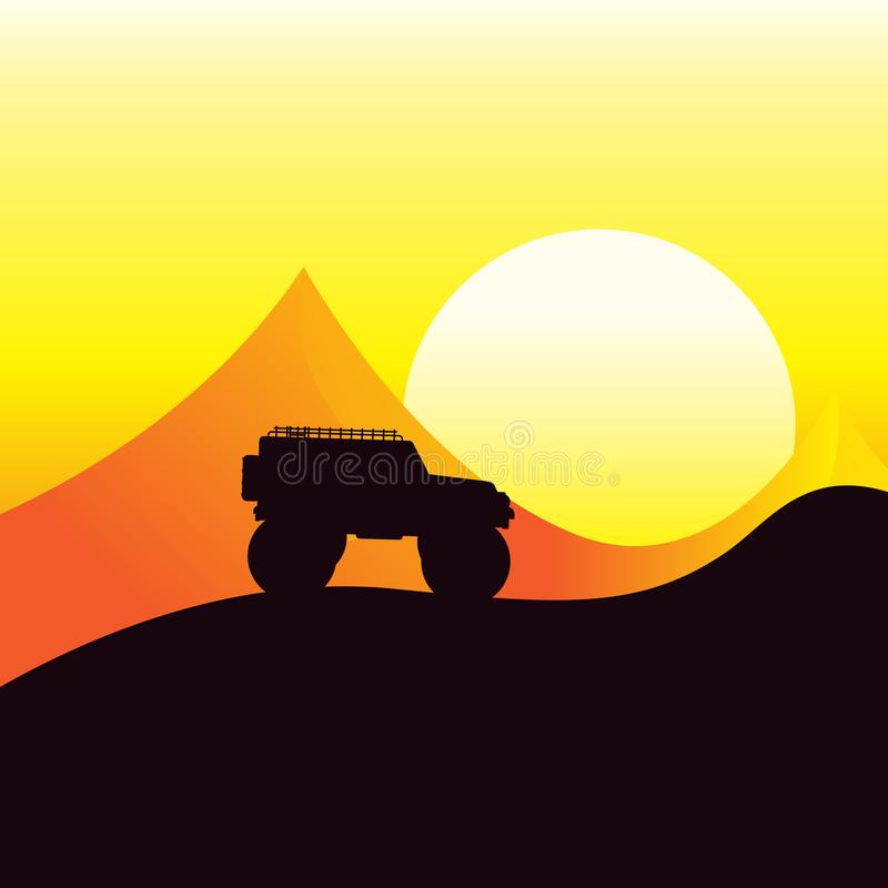 Jeep car in the desert, on sunset. On roof carries his luggage. Illustration in flat style stock illustration