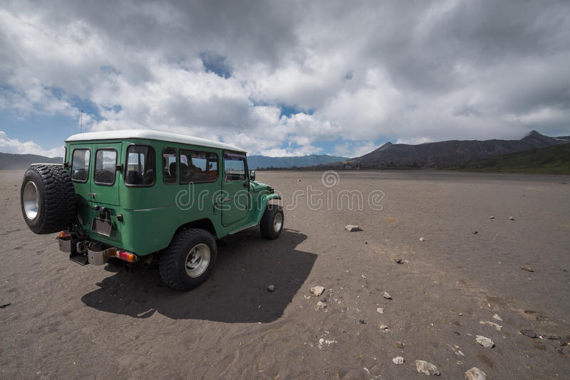 Jeep car volcano crater stock photos