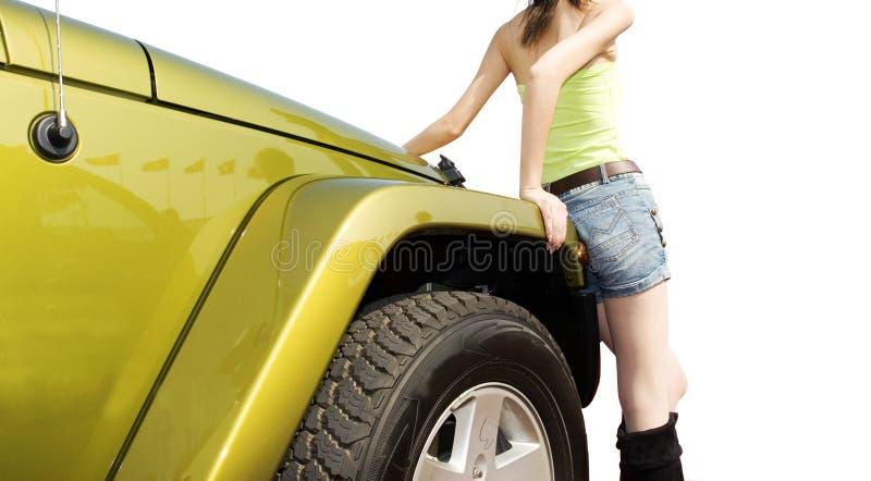 Jeep en meisje royalty-vrije stock foto's