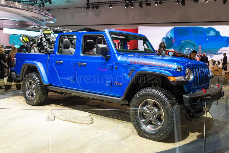 Jeep Gladiator on display during Los Angeles Auto Show royalty free stock images
