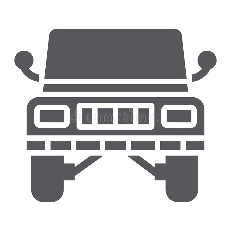 Jeep glyph icon, transportation and auto, suv sign, vector graphics, a solid pattern on a white background. Jeep glyph icon, transportation and auto, suv sign stock illustration