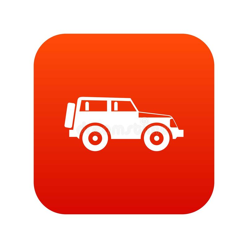 Jeep icon digital red vector illustration