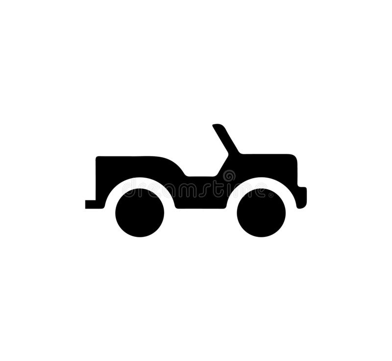 Jeep icon isolated on white background. Silhouette vector illustration sign symbol icon of a jeep isolated on white background stock illustration