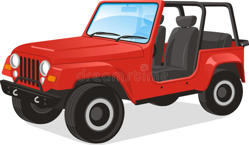 Jeep illustration. Vector illustration of a Jeep Wrangler, saved in layers for easy editing. Line drawing illustration also included royalty free illustration