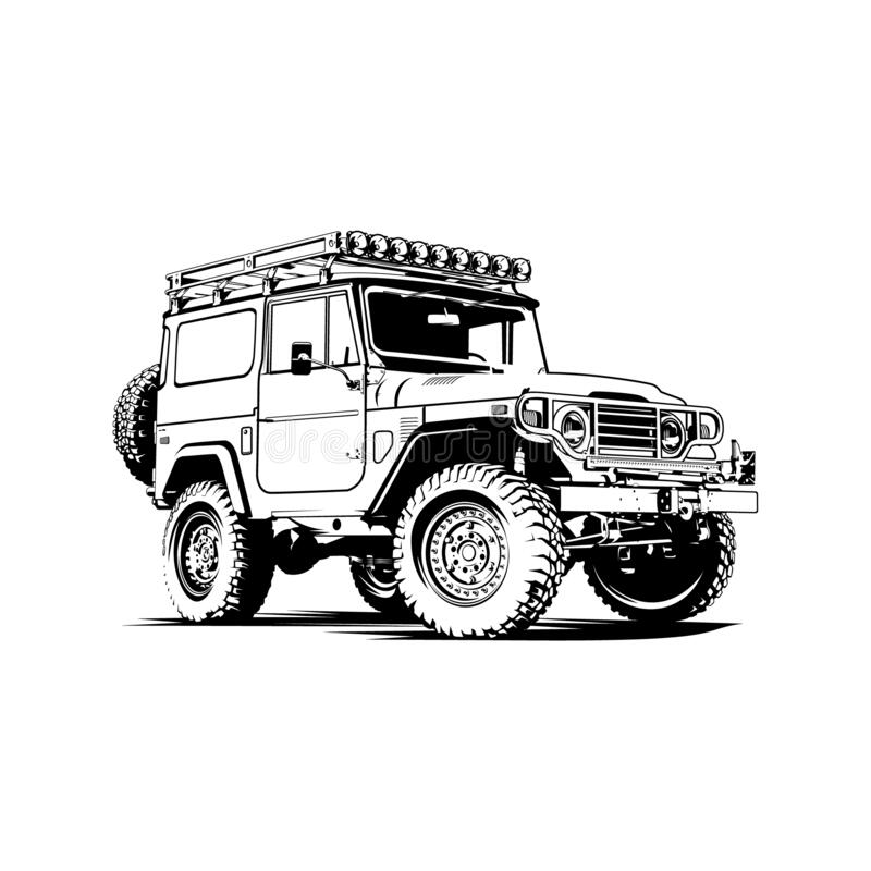 Free Jeep Land Cruiser FJ40 Car Illustration Vector Line Art Black And White Royalty Free Stock Image - 203471916