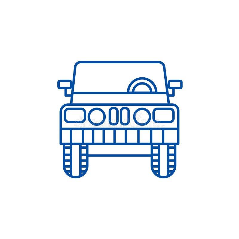 Jeep, linea concetto di vista frontale dell'icona Jeep, simbolo piano di vettore di vista frontale, segno, illustrazione del prof illustrazione di stock