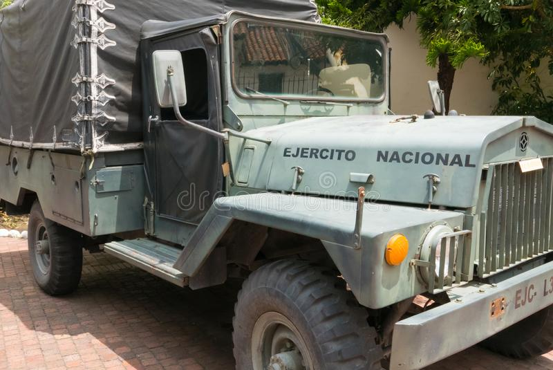 Jeep militar del ejército del museo de Bogotá fotos de archivo libres de regalías