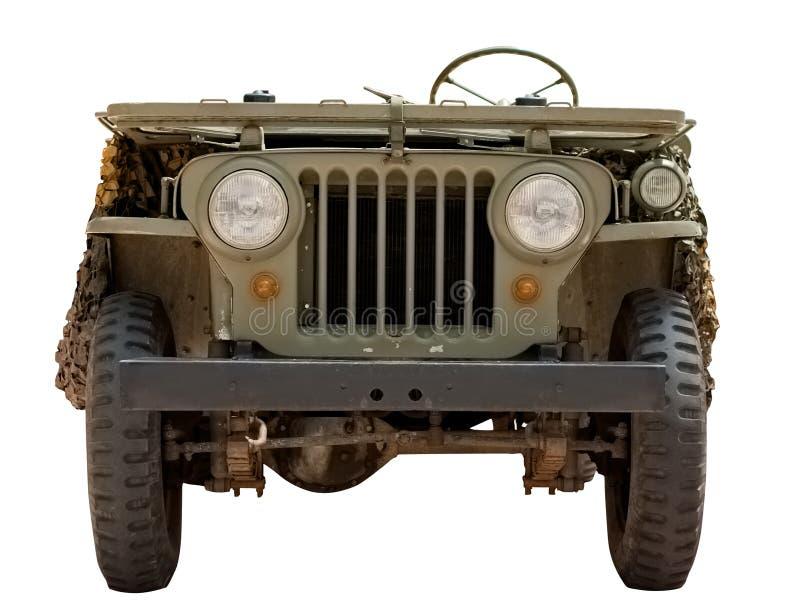 Jeep militar viejo a partir del 1966 aislado en blanco imagen de archivo libre de regalías