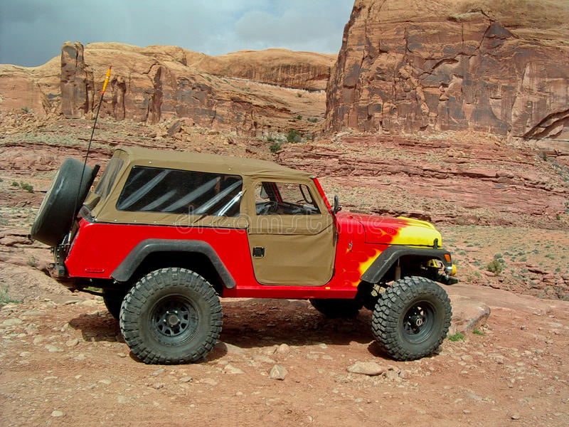Download Jeep in Moab stock image. Image of utah, flames, south - 24180271