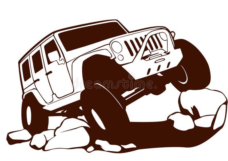 Jeep nicht für den Straßenverkehr lizenzfreie abbildung