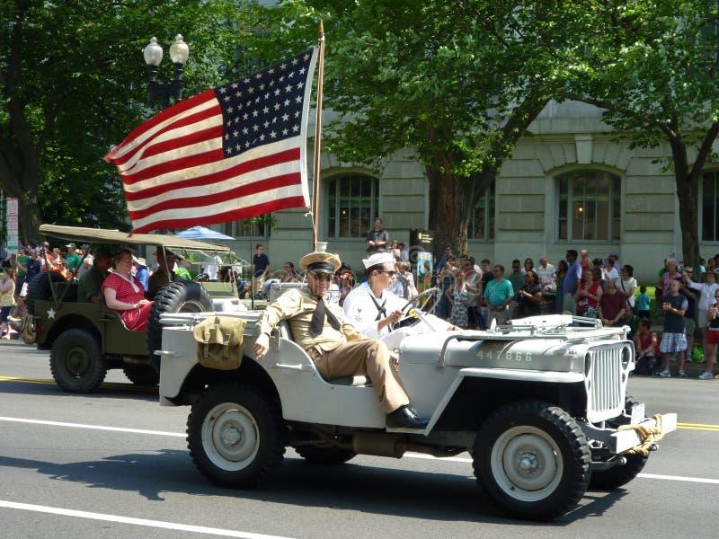 Jeep patriótico de WWII fotografía de archivo