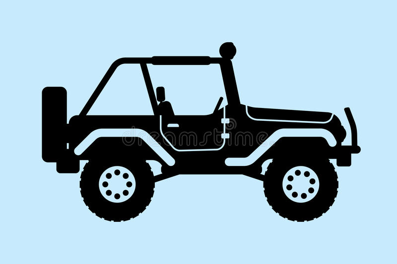 Jeep silhouette. Gin SUV silhouette with an open top stock illustration