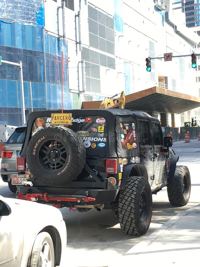 Jeep on streets of Miami, Florida stock images