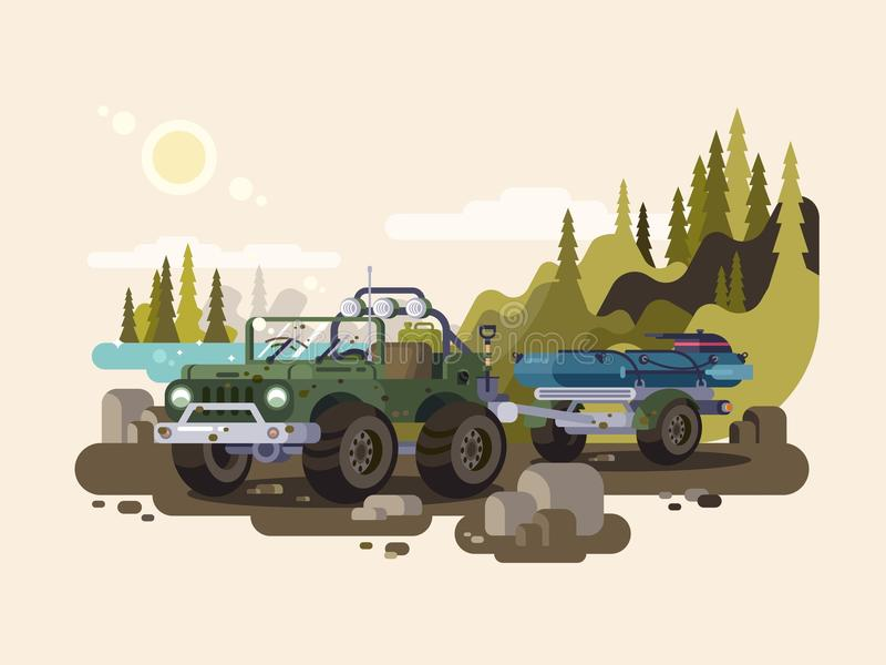 Jeep SUV with boat. Transportation trailer with vesse for fishing. Vector illustration stock illustration