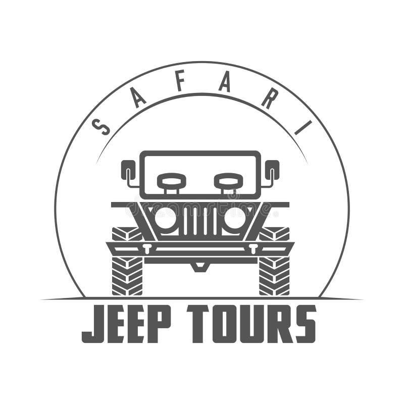Jeep Tours Safari Expedition Vector-Emblem vektor abbildung