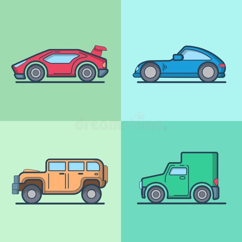 Jeep va för roadster för supercar för bilbil sportscar royaltyfri illustrationer