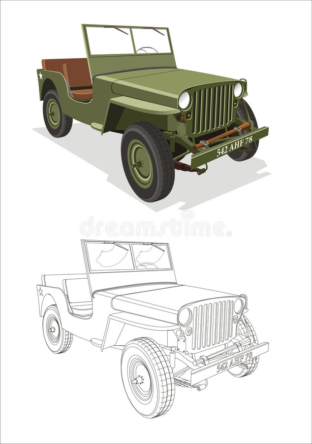 Download Jeep Willis stock vector. Image of automobile, lineart - 8695783
