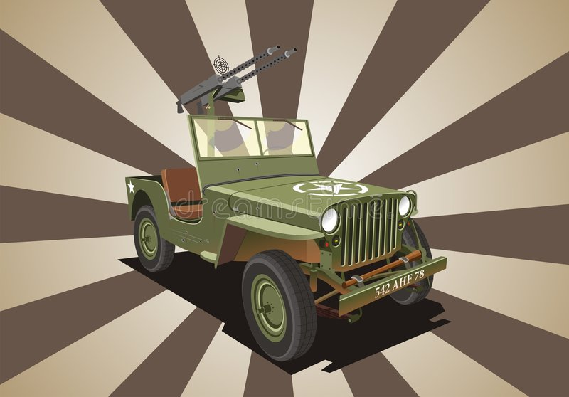World War Two Army Jeep Stock Vector Illustration Of